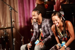 """Featured is Baye Harrell (left) and Paige Hernandez (right) of group """"Liner Notes."""" (Jeff Fitzgerald/For The Bloc)"""