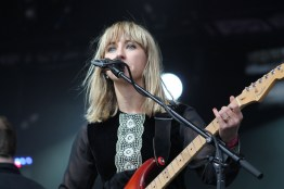 """Rhiannon """"Ritzy"""" Bryan, lead singer and guitarist of Welsh, Alternative Rock band, The Joy Formidable, during their performance on the Lincoln stage, Sunday at Landmark Music Festival. (Cassie Osvatics/Bloc Reporter)"""