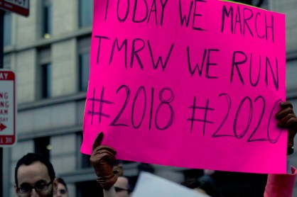 A significant number of marchers brought signs with them. This sign was a reminder for many women as to why they were marching. (Julia Lerner/Bloc Photography Editor)