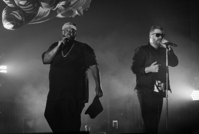 "The RTJ duo met in 2012, when El-P produced Killer Mike's entire album ""R.A.P. Music,"" forming a bond that would turn into Run the Jewels, arguably either artist's most successful project to date, at Echostage in Washington D.C. on Jan. 19, 2017. Killer Mike and El-P who have both been active in the rap scene since the 90s, are both 41 years old, at Echostage in Washington D.C. on Jan. 19, 2017."