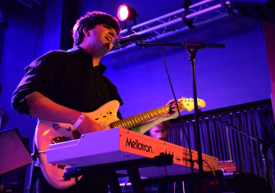 Eric Slick, drummer for pop group Dr. Dog, and his band perform their opening set at The Metro Gallery in preparation for Delicate Steve, Friday, March 10, 2017. (Jordan Stovka/Bloc Reporter)