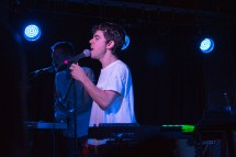 Lead singer of LA band Electric Guest, Asa Taccone, performs at U Street Music Hall in D.C. Pictured in back is their touring guitarist and keyboard player. (Cassie Osvatics/Bloc Reporter)