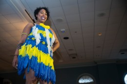 Imani Cabassa, a junior at the University of Maryland, shows off her blue and yellow condom outfit. (Josh Loock/Bloc Photographer)