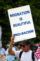Like with all recent protests and marches, a number of people brought signs with them to express how they were feeling about immigration and Trump's policies. (Julia Lerner/Photography Editor)