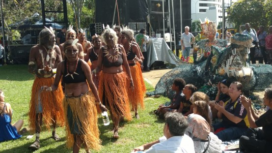 Men and women from different tribes performed in front of a big crowd