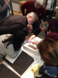 Evyn teaching a Papermaking course