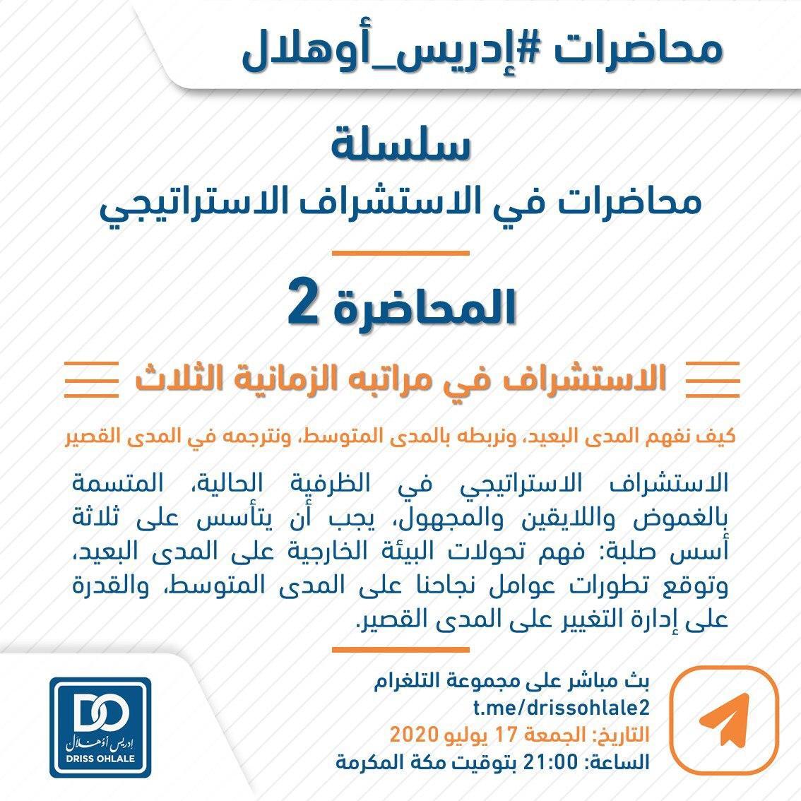 سلسلة الاستشراف الاستراتيجي   المحاضرة الثانية: الاستشراف في مراتبه الزمنية الثلاثة  