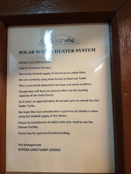 No hot water at Sutera Sanctuary Lodge (SSL)