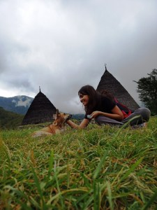 Me playing with a dog in Wae Rebo