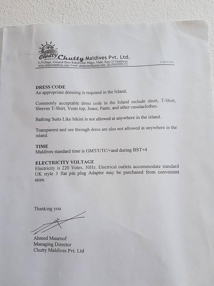 notice denoting the no-bikini rule on maafushi