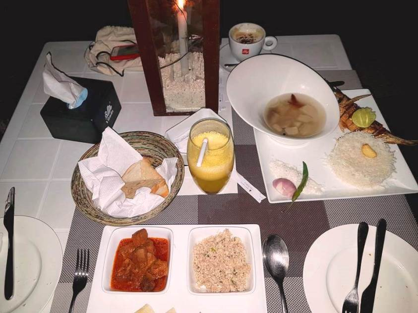 Maldivian food at a candle light dinner