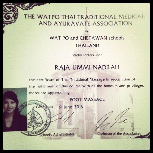 Thai foot massage certificate