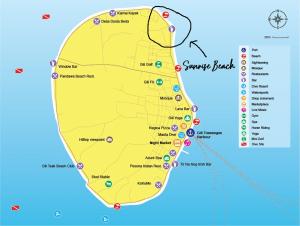Gili Trawangan sunrise beach map