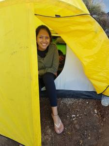 In a tent on Mount Rinjani