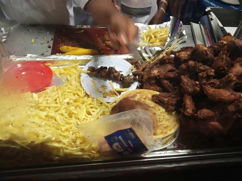 Fried chicken and fries in Dar es Salaam