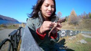 Eating omul fish at Lake Baikal