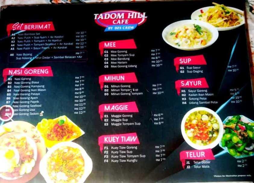 Tadom Hill Resorts Menu
