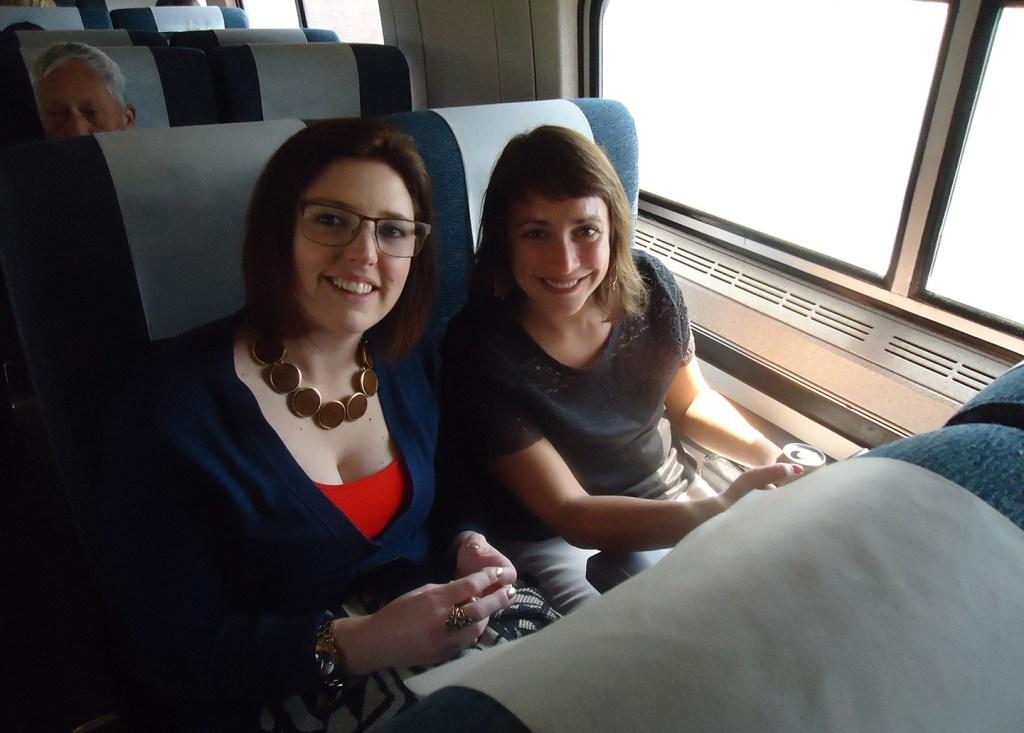 Rachel Chamberlain and Becky Bloom on Amtrak
