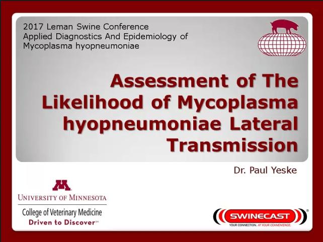 Yeske Mycoplasma hyopneumoniae lateral transmission