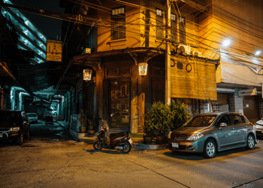 Street in China Town in front of Ba Hao top filming location in Bangkok for video production