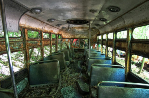 Inside abandoned train