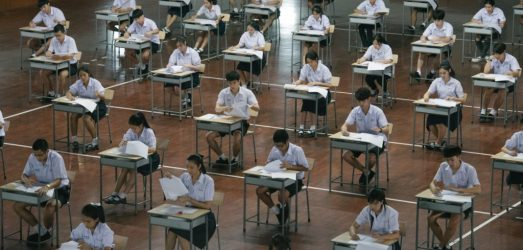 Class exam scene on the set of Bad Genius