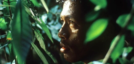 Man behind tropical bush staring out on the set of Tropical Malady