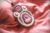 Hand made purple pendant embroidered with seed beads