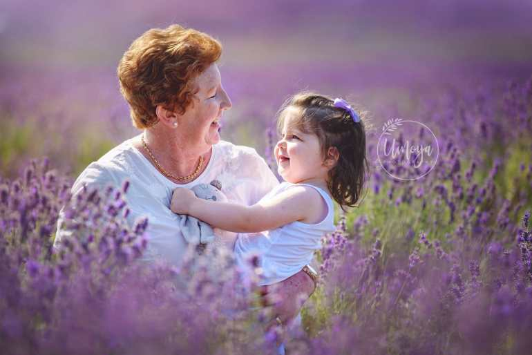 grandmother with granddaughter at the lavender fields