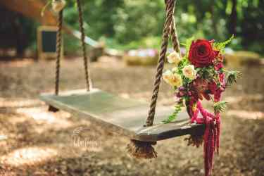 Floral bouquet on swing