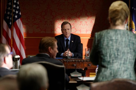 "DESIGNATED SURVIVOR - ""The Interrogation"" - When shots ring out at The White House during a Governors Summit, President Kirkman's plans at electing a new Congress are thrown into turmoil, while Agent Hannah Wells continues investigating the Capitol bombing and makes one of her most shocking discoveries yet on ABC's ""Designated Survivor,"" WEDNESDAY, NOVEMBER 9 (10:00-11:00 p.m. EST). (ABC/Ben Mark Holzberg) KIEFER SUTHERLAND"
