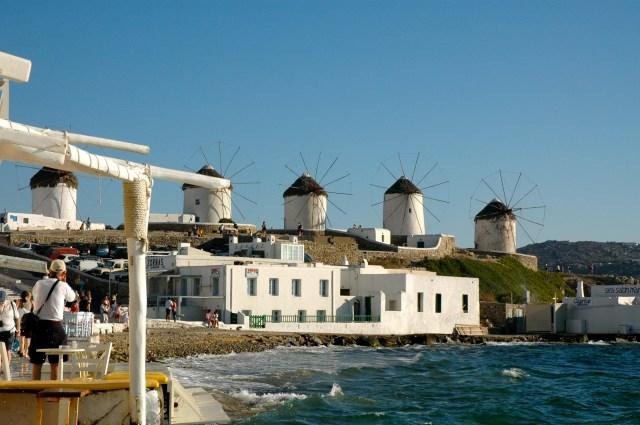 Moinhos de Mikonos na Grécia