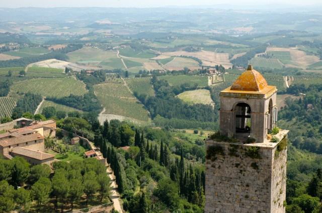 Vista dos campos da Toscana