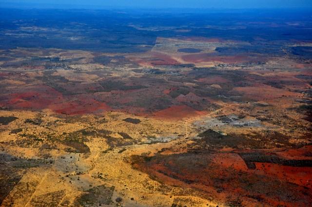 A paisagem seca da caatinga.
