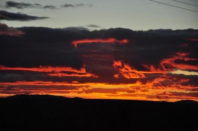 O belo por-do-sol na volta para Mucugê