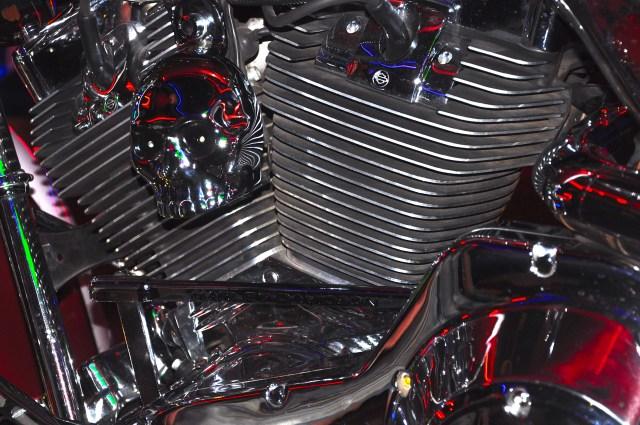 Detalhe do motor de uma Harley-Davidson