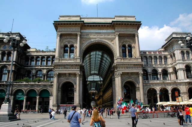 A fachada da Galleria Vittorio Emanuele II