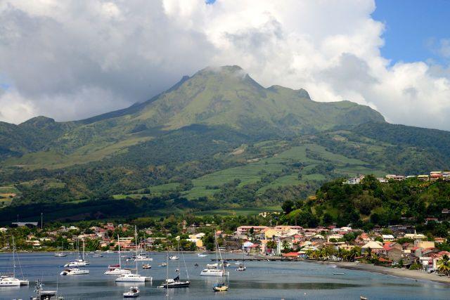 O vulcão Mont Peleé na Ilha da Martinica.
