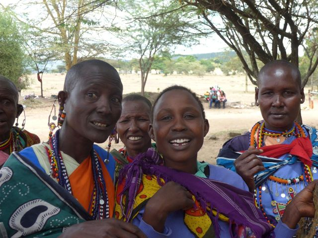 As mulheres Masai na entrada do Parque Nacional Masai Mara.