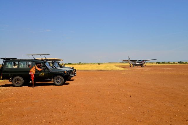 O campo-de-pouso da Reserva Masai Mara.