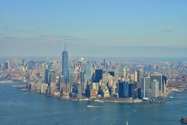 A ponta sul da Ilha de Manhattan em Nova York.