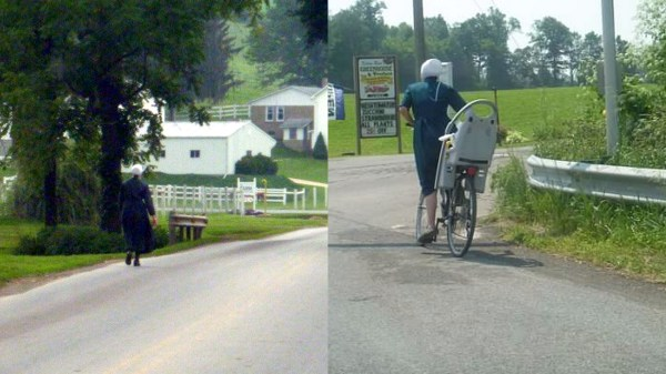 Amish People Riding Bicycles