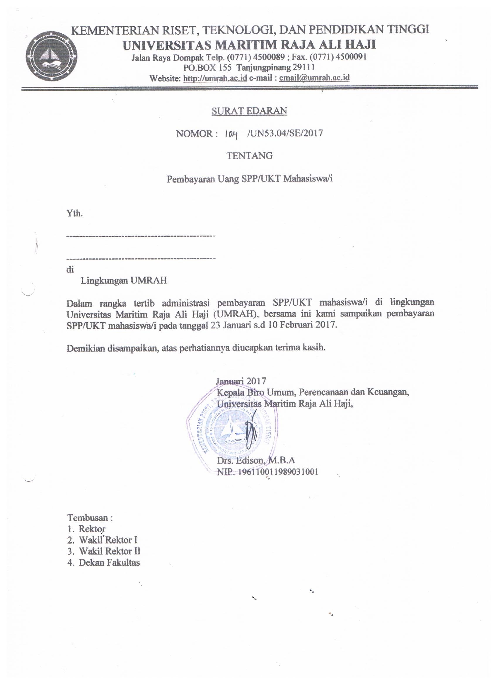 Surat Edaran Jadwal Pembayaran SPP/UKT