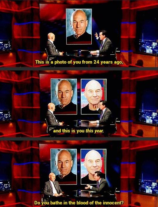"Patrick Stewart no Colbert Show ""Sangue dos Inocentes?"""