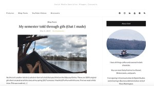 Screenshot of a student blog site.
