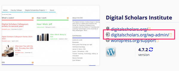Screenshot of WordPress login link in Installatron