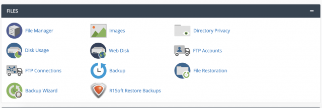 Screen shot of section in cPanel open