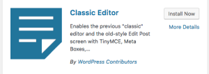Screenshot of the Classic Editor plugin