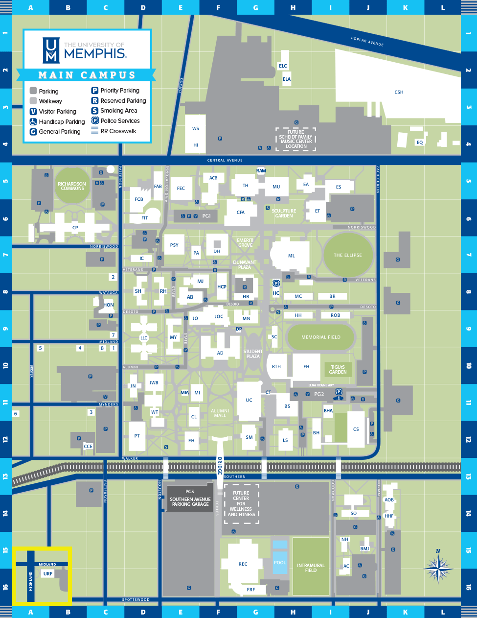 University Of Memphis Campus Map : university, memphis, campus, University, Memphis