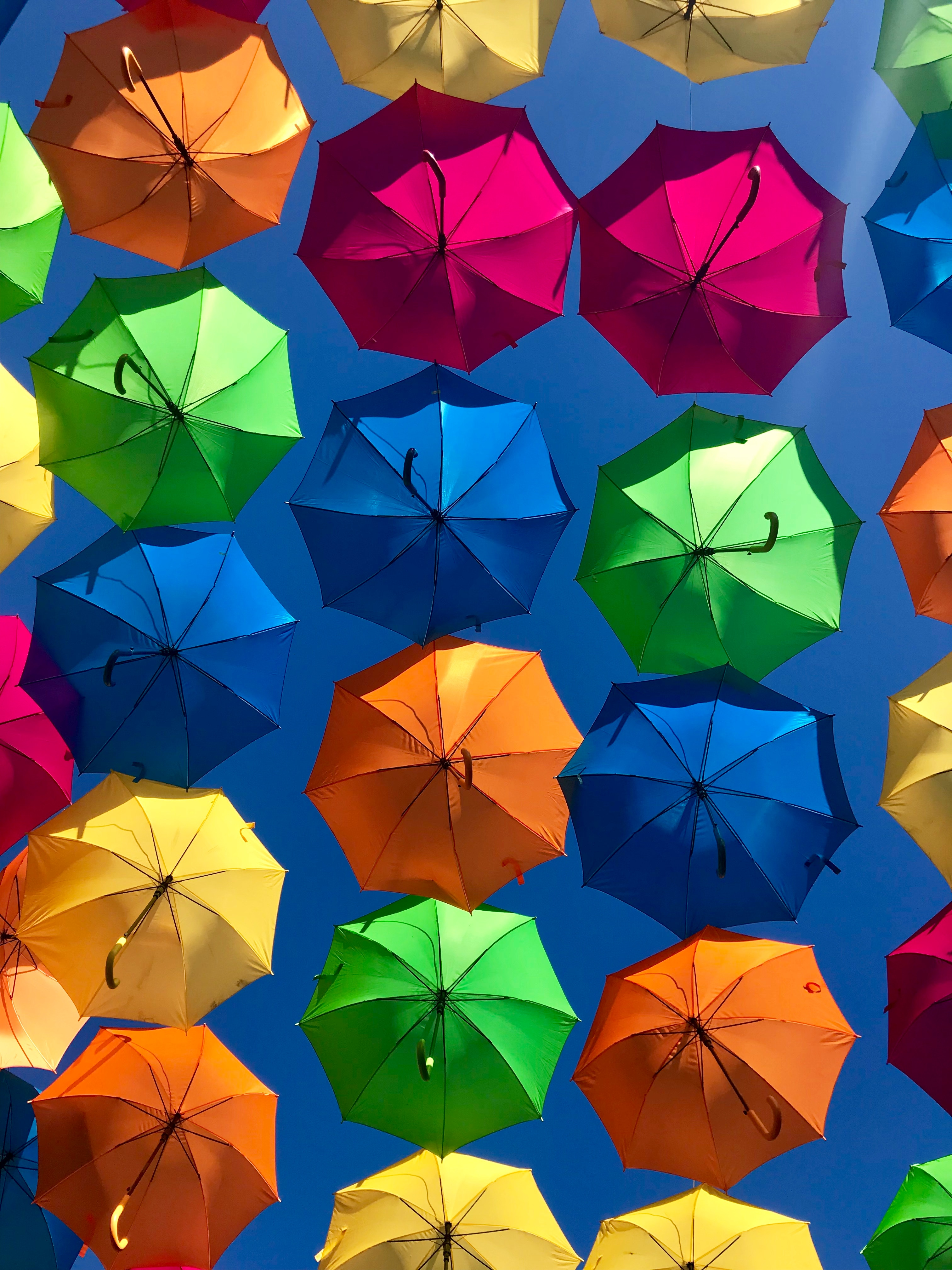 A photo of umbrellas in the sun by Xiao Sun on Unsplash